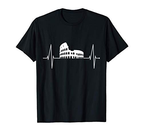 Roma Colosseo Italia Rome Battito Cardiaco Amo Roma Skyline Maglietta