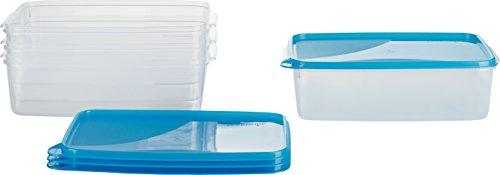MiraHome Frischhaltedose Gefrierbehälter 3l rechteckig 28x18x8cm 4er Set blau Austrian Quality