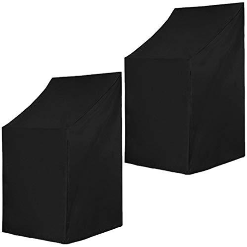 HSGAV Funda para Silla Jardín, Fundas Sillas Apilables, Funda Protectora Impermeable Tela Oxford 210D para Muebles Jardín Al Aire Libre Anti-decoloración 65x65x80/120cm, Negro,2 Pack