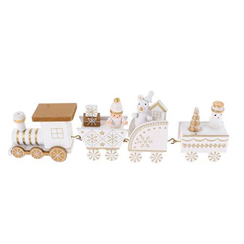 TOYANDONA Mini Wooden Train Table Toys Christmas Four Carriages Train Shape Ornaments Cartoon Desktop Decoration