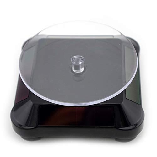 EPOWAD Accesorios de visualización 1 UNID Solar Power BATERÍA 360 Soporte de Pantalla Giratorio Giratorio para Anillo Collar Pulsera Joyería 11 * 5 * 11cm (Color : Black)