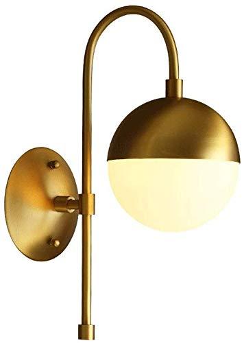 Moderne wandlamp met wit bolletje Glas Gouden Wandlamp met geborsteld messing Afgewerkt Mid Century Moderne Retro Vintage Stijl voor Slaapkamer Badkamer Woonkamer