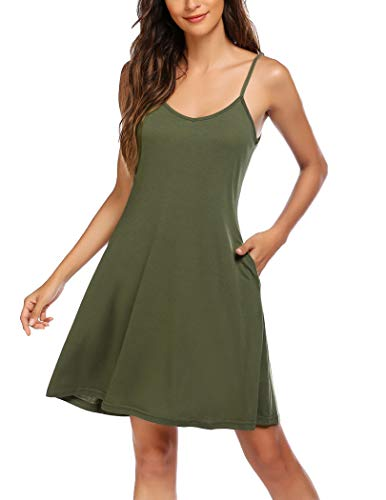 Hotouch Women's Novelty Dresss with Pockets Casual Spaghetti Strap Swing T Shirt Dresses Sexy Party Dress Army Green M