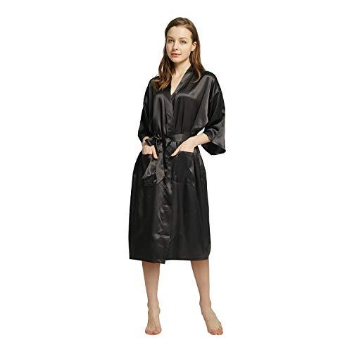 Westkun Kimono Japones Mujer Albornoz Vestido de Satén Novia Suave Cómodo Sedoso y Agradable Pijamas Largo Sexy Elegante de Seda Bata Camisón Robe Lencería Cardigan(Negro,M)
