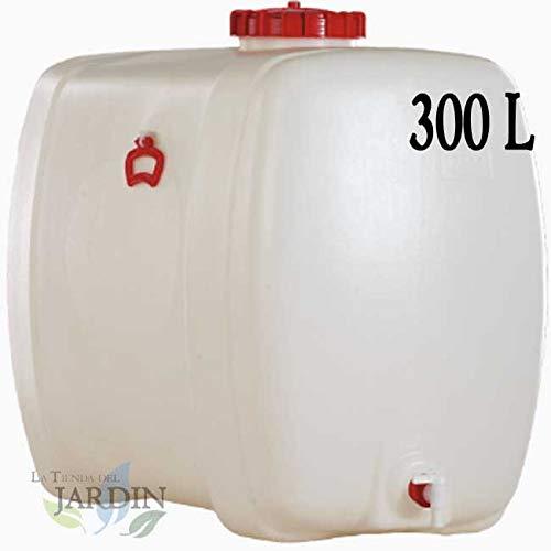 Houder van polyethyleen, geschikt voor levensmiddelen, 300 l, voor vloeistoffen en dranken. Afmetingen: lengte 88 cm, breedte 61 cm, hoogte 88 cm, gewicht 12,6 kg.