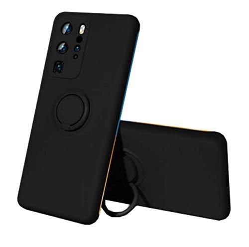 Compatible con Huawei P30 Lite funda Huawei P30/P30 Pro, de silicona, protección líquida, soporte magnético para coche, soporte de 360 grados Negro Talla única