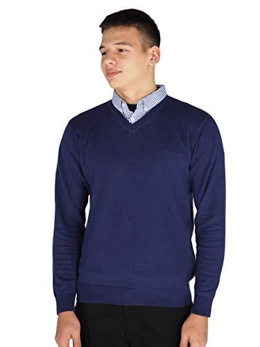 Pierre Cardin - Jersey de punto con cuello en V para hombre azul cobalto XXXL