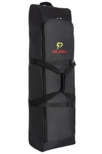 PALANKA Golf Bag Travel Cover with Built-in Wheels (Black) Heavy Duty Protective Fabric   Padded Top Club Head Coverage   Top Handle, Zippered Pockets, ID Tag