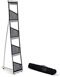 Mesh Floor Brochure Rack - Roll Out Brochure Holder 4 Pockets - Portable Literature Display - Leaflet Holder - for Tradeshow and Office Use