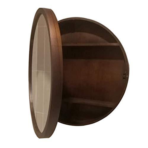 SDK Round Bathroom Mirror Cabinet, Bathroom Wall Storage Cabinet Mirror Medicine Cabinet with Slow-Close Wooden Frame 3 Level (Color : Walnut Color, Size : 50CM)