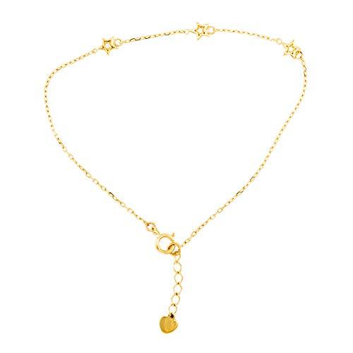 Pulsera de 3 estrellas con piedras de circonio y corazón de oro amarillo (375/1000)
