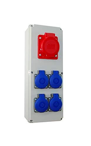 Baustromverteiler/Wandverteiler 4 x 230V/16A & 1 x CEE 16A verdrahtet