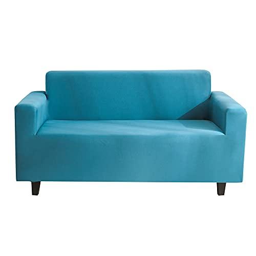 Meiju Fundas de Sofá Color Sólido Elasticas de 1 2 3 4 Plazas Universal Decorativas Funda Cubre Sofas Ajustables, Antideslizante Protector Cubierta de Muebles (Lago Azul,3 plazas - 190-230cm)