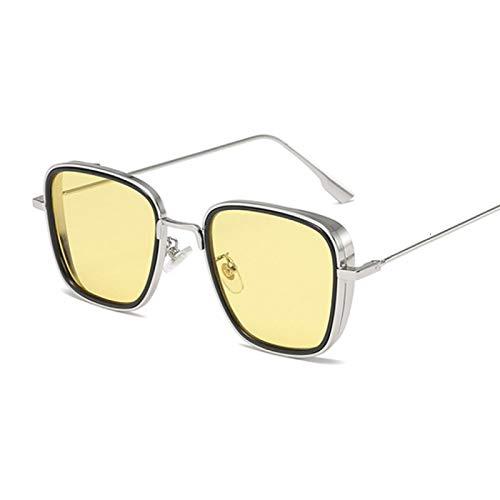 HAOMAO Gafas de Sol cuadradas con Montura Dorada Cool Shades para Hombres y Mujeres Plateadas