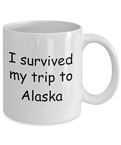 N\A Alaska Mugs Souvenirs - sobreviví mi Viaje a Alaska - Taza de café con Leche Taza de té de Regalo de 11 oz