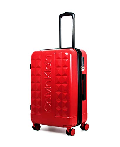 Calvin Klein Central Park West Hardside Spinner Luggage with TSA Lock, Red, 24 Inch