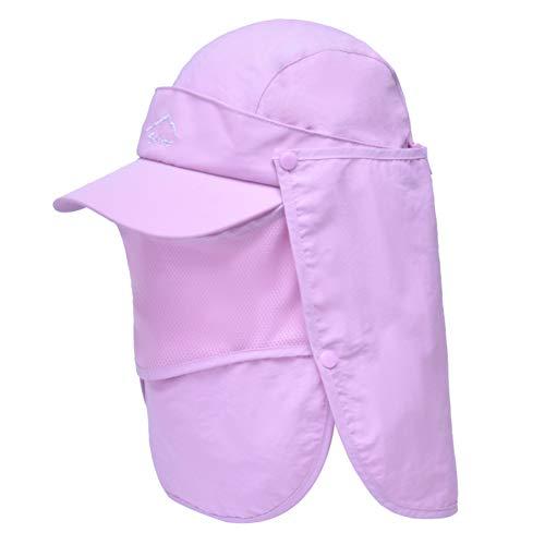 Lazzon Hombres Mujer Gorra para el Sol Anti-UV Pesca con Proteccion de Cuello ala Ancha Secado Secado rápido extraíble Sombrero Equitación Camping Senderismo