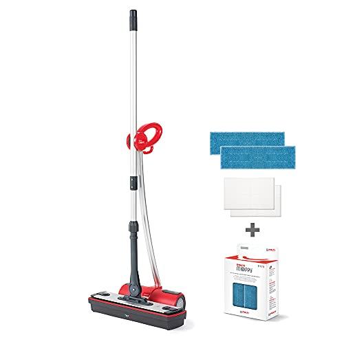 Polti Moppy - Kit de 2 paños y limpiador de suelos con vapor sin cables para todo tipo de suelos y superficies verticales lavables, color rojo