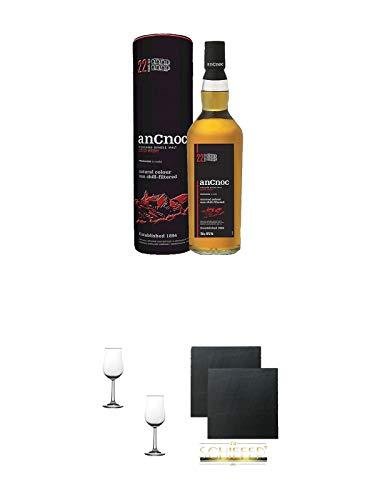AnCnoc 24 Jahre Single Malt Whisky 0,7 Liter + Nosing Gläser Kelchglas Bugatti mit Eichstrich 2cl und 4cl - 2 Stück + Schiefer Glasuntersetzer eckig ca. 9,5 cm Ø 2 Stück