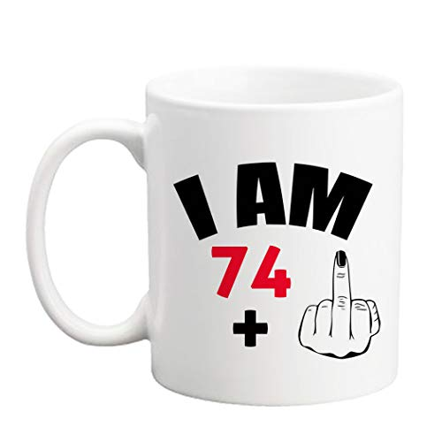 LXQM 75 Birthday Gifts for Women - I am 74 Plus One Middle Finger Mug - 11 oz Coffee Mug 75th Gift Ideas to Her, Wife, Grandma, Mom, Daughter, Sister, Friend, Boss