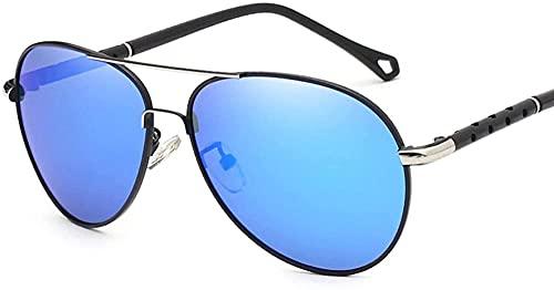 Gafas de sol piloto para hombres y mujeres polarizadas espejo hueco marco UV gafas de vidrio para conducir pesca, Blue,