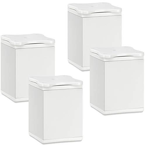 SOTECH 4 Stück Möbelfüße Quebec 60 mm (+ 10 mm) 40 x 40 mm weiß höhenverstellbare Schrankbeine aus Aluminium