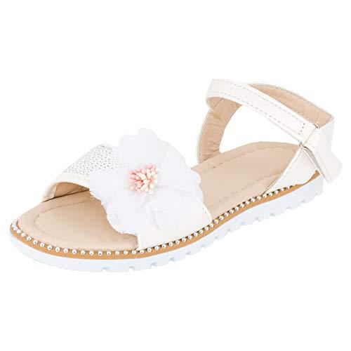 Mädchen Sandalen Sandaletten Kinder Schuhe mit Pailletten Klettverschluss M544ws Weiß 29 EU