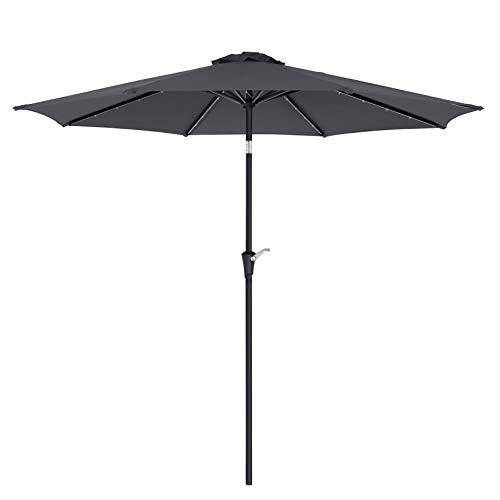 SONGMICS Sonnenschirm mit LED-Solar-Beleuchtung, Gartenschirm Ø 3 m, UV-Schutz bis UPF 50+, knickbar, mit Kurbel zum Öffnen und Schließen, ohne Ständer, grau GPU33GY