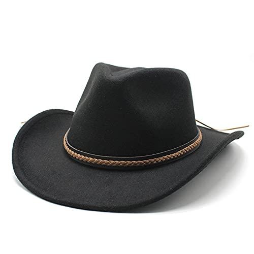 Dingyi Sombrero de Vaquero Occidental de ala enrollada de Invierno con Cuero Retro Gentleman Lady Jazz Cowgirl Cap Church Sombrero Gorras Casual Running Deportes al Aire Libre