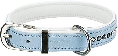 Trixie halsband hond active comfort met strass steen leer lichtblauw (23-28X1,5 CM)