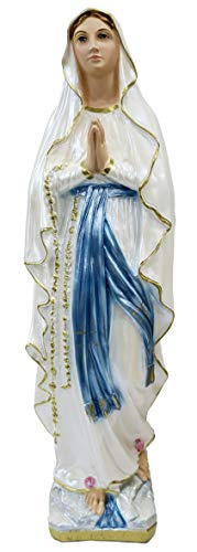 Ferrari & Arrighetti Imagen Virgen de Lourdes en Yeso Perlado Pintada a Mano - 50 cm