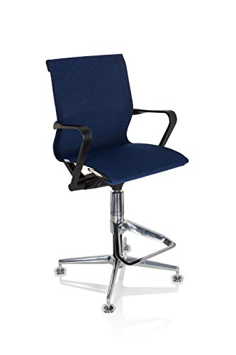hjh OFFICE 790013 Arbeitsstuhl TOP Work 306 Stoff Blau Bürostuhl Counterstuhl mit Fußstütze, höhenverstellbar, atmungsaktiv