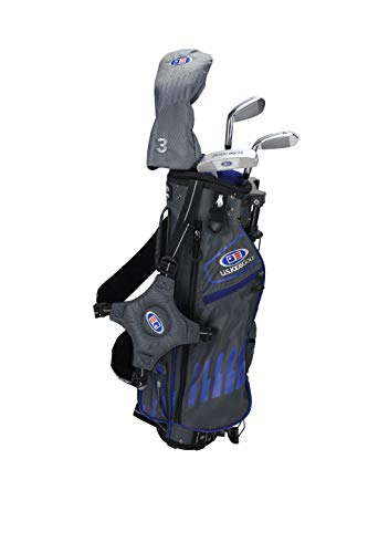 "U.S. Kids, set di mazze da golf Ultralight 2020, 100-168 cm, età 3-13 anni, 5 mazze, 122-130cm, azzurro/grigio destro, 48"""