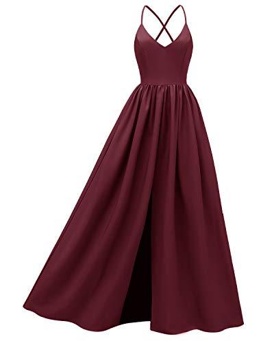 LA ORCHID Laorchid Damen Lang Slip Kleider Vintage 50's Strap Abendkleid Ärmellos Brautjungfern Cocktail Hochzeit Partei Burgundy L