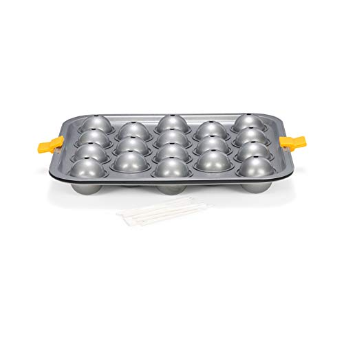 Patisse Nonstick Silver Top Cake Pops Pan with Lolly Sticks, Silver Grey