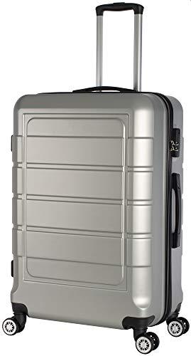Cahoon - Hartschalen-Koffer Trolley Handgepäck Reisekoffer Kofferset 4 Rollen M-L-XL-Set 201 (Silber, Großer Koffer)