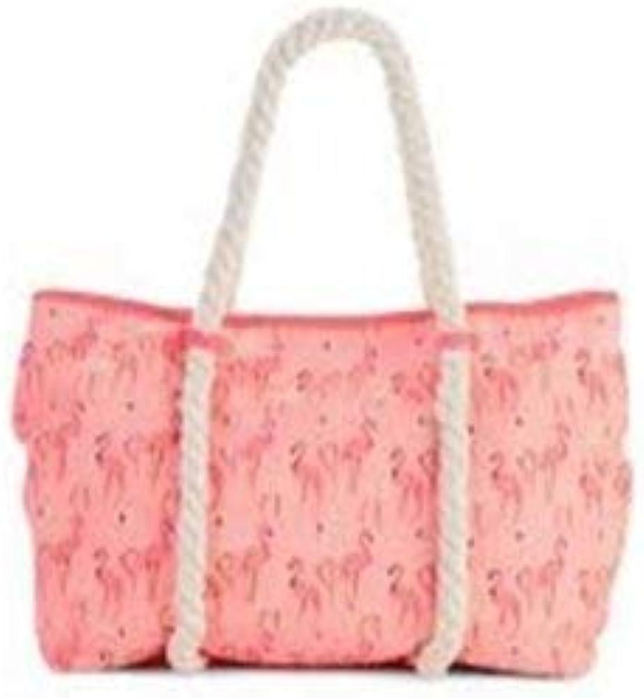 Woven Coral Flamingos Canvas Beach Tote Bag