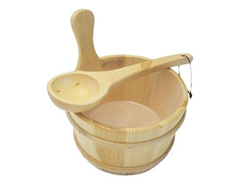 EB-Onlinehandel Standart Saunakübel und Kelle mit Auslaufschutz - Saunaeimer Saunaset Saunazubehör
