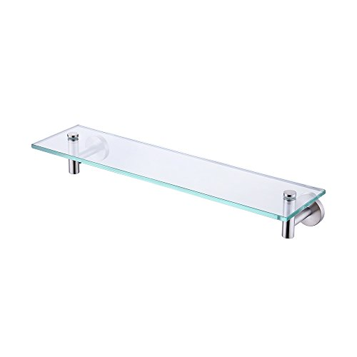 KES 20-Inch Glass Shelf Bathroom Storage Organizer Shelf with 8 MM-Thick Tempered Glass and Brushed Nickel Rustproof Metal Bracket Wall Mount Rectangular, A2021-2