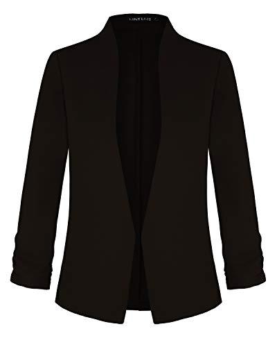 Womens Casual Blazers Open Front 3/4 Sleeve Work Office Jackets Blazer (Black,XL)