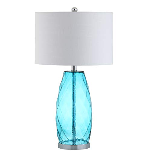 JONATHAN Y JYL4009B Juliette 26.5u0022 Glass/Metal LED Lamp Contemporary,Transitional,Coastal for Bedroom, Living Room, Office, College Dorm, Coffee Table, Bookcase, Moroccan Blue