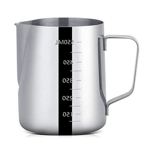 Jarra de espuma de leche de acero inoxidable, jarra de espuma de leche de acero inoxidable de 600 ml tazas de café expreso con medida