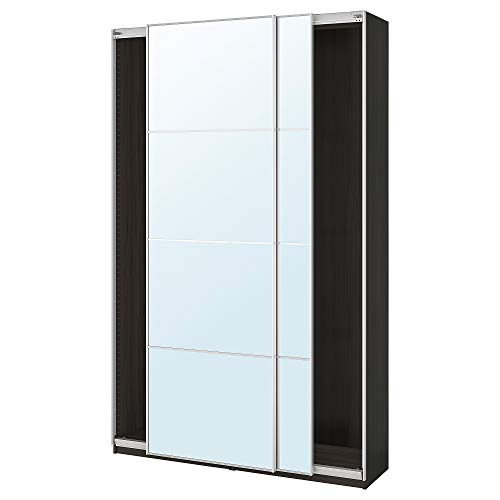 PAX garderob med skjutdörrar 150 x 43 x 94 tum svartbrun/Auli spegelglas