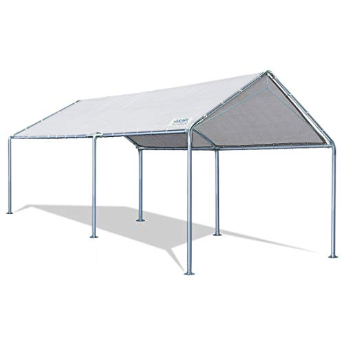 Quictent 10X20ft Upgraded Heavy Duty Car Canopy Galvanized Frame Carport Outdoor Boat Shelter with 3 Reinforced Steel Cables