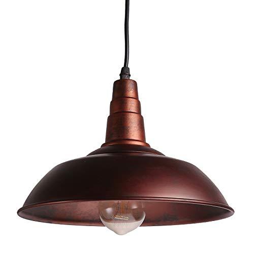 Sunsbell®, lampadario a sospensione stile vintage per mansarde, bar, caffetterie, aree industriali, compatibile con lampadine Edison E27, colore marrone, lampadina non inclusa