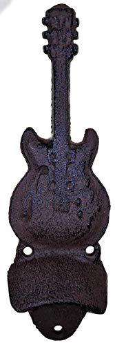 Trends & Trade Abrebotellas de guitarra de 20 x 6 cm para montaje en pared, abridor de bebida, cerveza, agua, hierro fundido, decoración F38