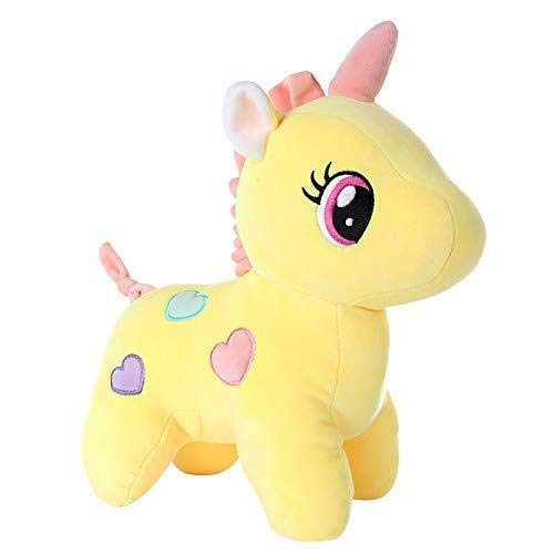 Bakku Toys Big Size Funny Unicorn Stuffed Animal Plush Toy, 30CM, Yellow New Born Baby Gift Item
