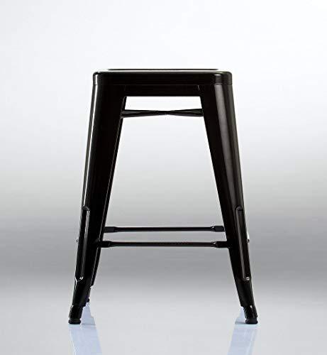 1x Stuhl Hocker Metall Barhocker Industry Design Farbwahl Küchenstuhl STAPELBAR Esszimmerstuhl Retro, Farbe:Schwarz, Material:Metall