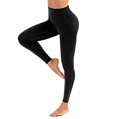 CLUCI High Waist Yoga Leggings for Women Tummy Control Workout Athletic Running Pants Active Non-See Through 4 Way Stretch with Inner Pocket Black Large(L)