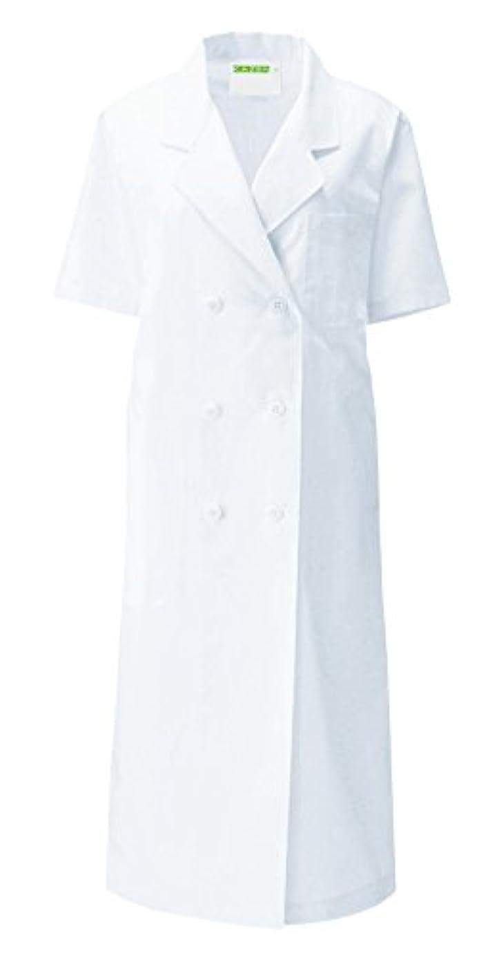 上院議員物思いにふける医療ユニフォーム 白衣 レディス診察衣W型 半袖 ホワイト カゼン(KAZEN) L 127-30